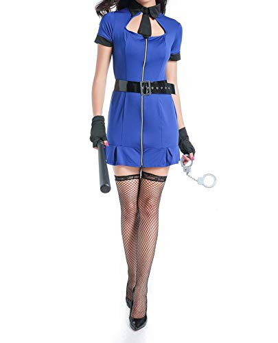 67598#United States Blue Siamese Policewoman Halloween Police Sexy Lingerie Police Costume,Blue,M ()