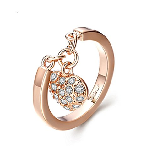2018 Mothers Day JNA COLLECTION 18k Gold Plated Pave Heart Cubic Zirconia Dangling Charm Promise Engagement Ring Women Ladies Girlfriend Fiancée with Exquisite Jewelry Gift Box Size 6,7,8,9 (6) (Heart Charm Dangling Ring)