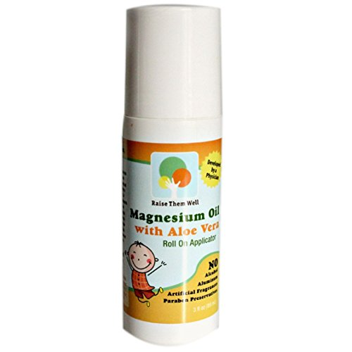 (Kid Safe Magnesium Oil. Gentle Blend of Magnesium Oil and Aloe Vera Will not Burn or Itch. Easy to Use Roll-on Applicator. Great for Calming, Headaches, and Sleep.)