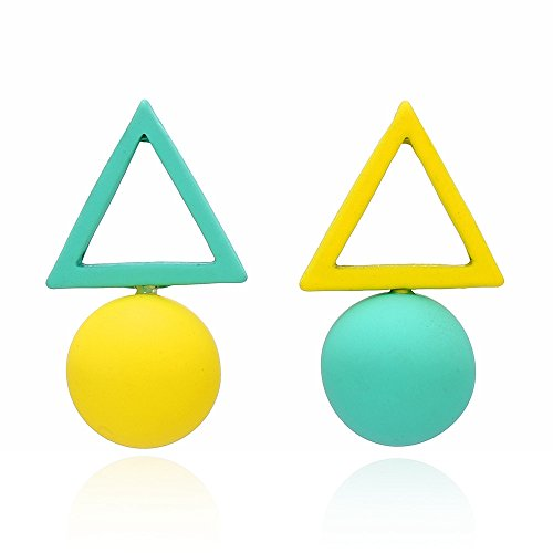 palettei Korean Style Triangle Ball Different Candy Color Earrings For Women Stud Earrings (Yellow) -
