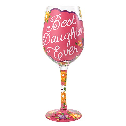 """Designs by Lolita """"Love My Daughter"""" Hand-painted Artisan Wine Glass, 15 oz."""