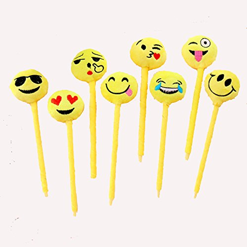 Crazy Night Assorted Emoji Ballpoint Pens Cute Plush Pen Toy for Kids Pack of 8 -