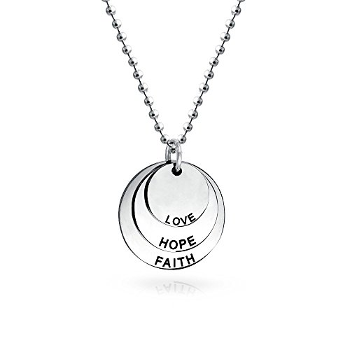 Bling Jewelry Faith Hope Love Stacked Disc Pendant Stainless Steel Necklace 18 (Love Disc Pendant)