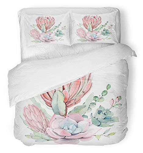 Emvency 3 Piece Duvet Cover Set Brushed Microfiber Fabric Breathable Watercolor Vintage Succulents Bouquet Spring Summer Floral Bohemian Perfect Bedding Set with 2 Pillow Covers King Size (Bouquet 2 Spring)
