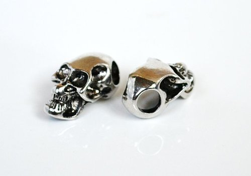 5 Metal Chrome Skull Beads For 550 Paracord Bracelets, Lanyards, & Other Projects (Horizontal Holes)