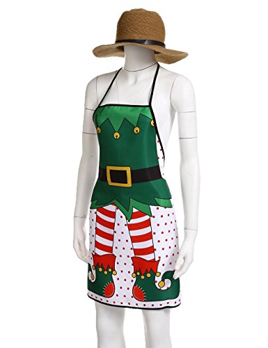 Santa Apron for Christmas Kitchen Decoration, Cute Aprons for Women, Hostee and Housewarming Gift (Elf 3#) - Elf Aprons