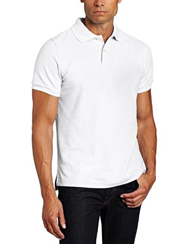 Lee Uniforms Men's Modern Fit Short Sleeve Polo Shirt, White Large