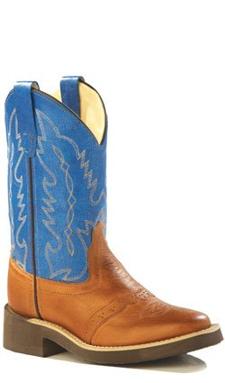 (Old West Blue Childrens Boys Canyon Leather Square Toe Cowboy Boots 13 D)