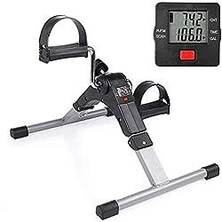 Folding Pedal Exerciser Mini Exercise Bike Arm and Leg Exercise Peddler Machine with Electronic Display