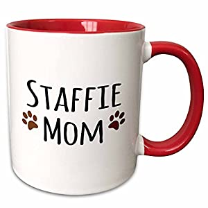 3dRose 154201_5 Staffie Dog Mom - Staffordshire Bull Terrier - brown paw prints - Doggie by breed Ceramic Mug, 11 oz, Red/White 17