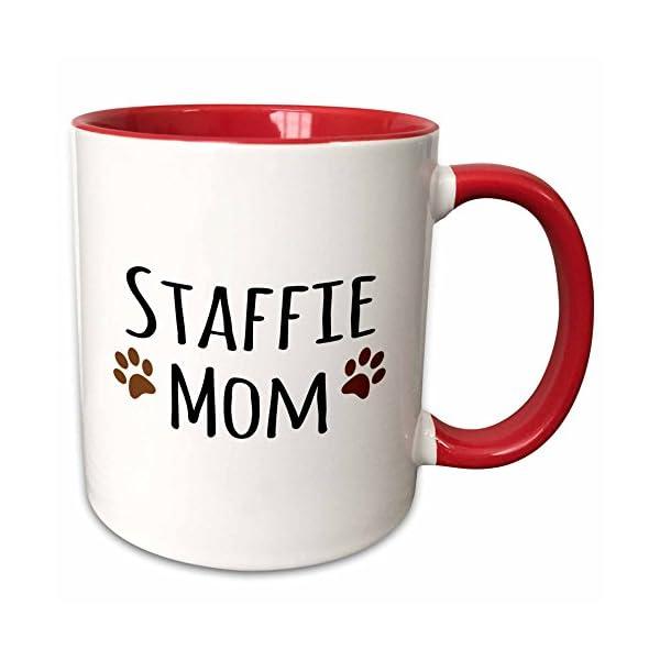 3dRose 154201_5 Staffie Dog Mom - Staffordshire Bull Terrier - brown paw prints - Doggie by breed Ceramic Mug, 11 oz, Red/White 1