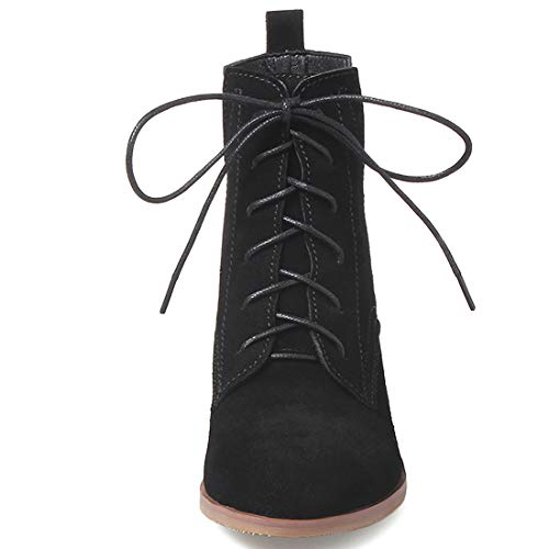 40 Autres Bottes Juabout Cheville Noir Lacer Femme Bloc Cuir Jushee X6xqRCzwZ