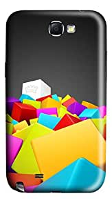 Creative Illustration Colored Squares Polycarbonate Hard Case Cover for Samsung Galaxy Note II N7100