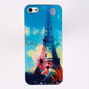 Pares de moda Torre Eiffel Patrón de plástico duro caso para iPhone 5/5S , Multicolor