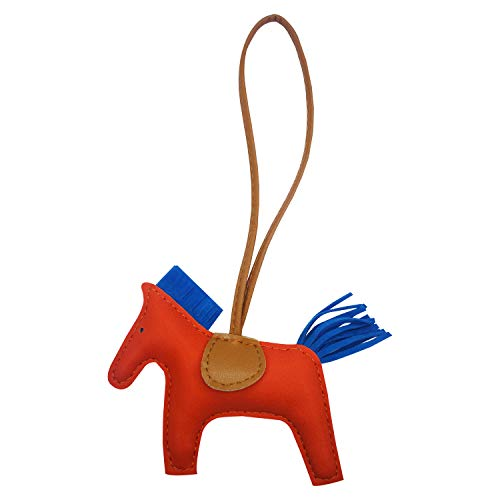Bag Charm for Women Purse Charm Horse Leather Keychain Handbag Accessories (Orangeblue)