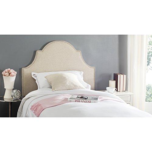 Price comparison product image Safavieh Hallmar Hemp Linen Upholstered Arched Headboard - Silver Nailhead (Twin)