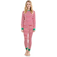Elowel Adult Womens Mens Family Christmas Fitted Striped Pajamas 100% Cotton