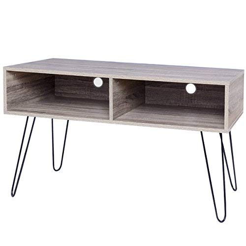 TANGKULA 42″ TV Stand Home Retro W/Metal Hairpin Legs Media Console