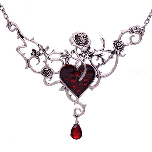 Halloween Jewelry (Women Red Heart Necklace Halloween Jewelry Fashion Necklace Red Heart by Norfian)