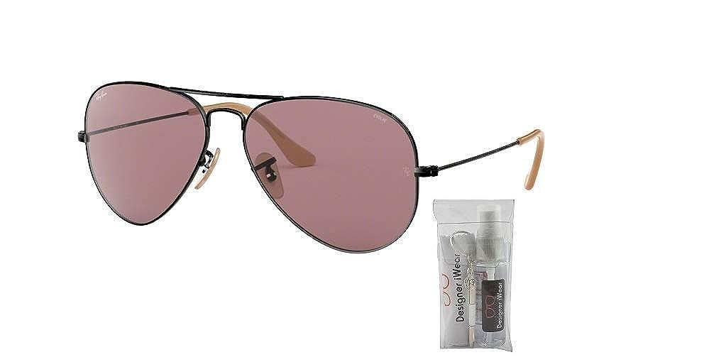 9e8e029f7 Amazon.com: Ray-Ban RB3025 AVIATOR EVOLVE 9066Z0 55M Black/Violet Sunglasses  For Men For Women: Clothing