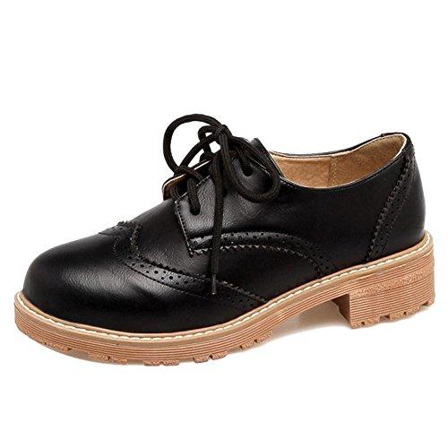 Fashion Court Up Shoes Women's Black TAOFFEN 6044 Lace P5aFq