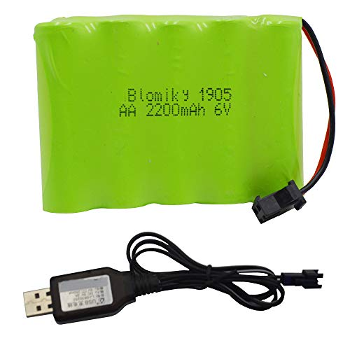 Blomiky 6V 2200mAh Ni-MH AA Rechargeable Battery Pack with SM-2P Black 2Pin Plug and USB Charger Cable for RC Truck Cars Vehicles 6V ()