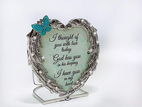 BANBERRY DESIGNS Memorial Candle Holder - Heart Shaped Angel Wings and I Thought of You with Love Today Expression Bereavement Loving Memory