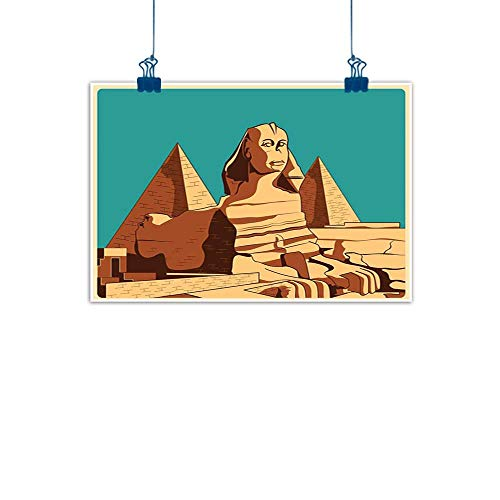 rints Wall Decor Art Egyptian,Vintage Poster of Sphinx and Pyramids in Giza Ancient Famous Monument Cairo,Teal Pale Brown for Bedroom Office Homes Decorations 32