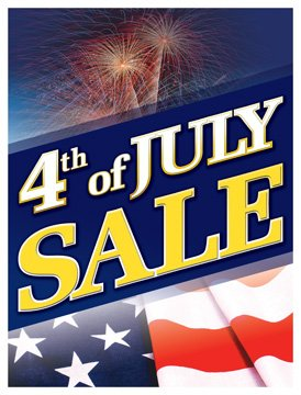 P40JFT 4th of July Sale Holiday Seasonal Vinyl Window Sale Sign Posters Retail Business Store Signs (P40-25