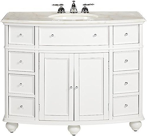 "Hampton Bay Curved Bath Vanity, 35""Hx45""Wx22""D, WHITE"