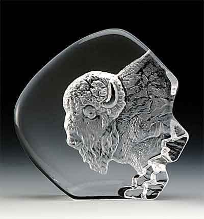 VG Engraved Lead Crystal - Buffalo Head by VG