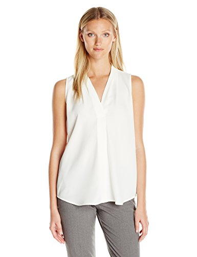 Calvin Klein Women's Sleeveless Blouse with Inverted Pleat, Soft White, L