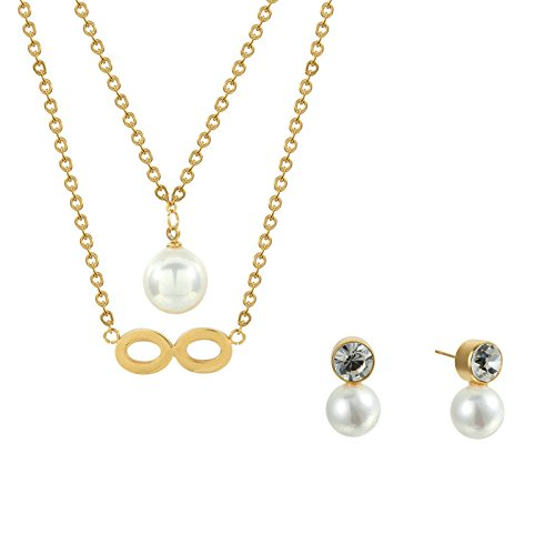Stainless Steel Love Infinity Double Ring Necklace (Gold Plated) - 6