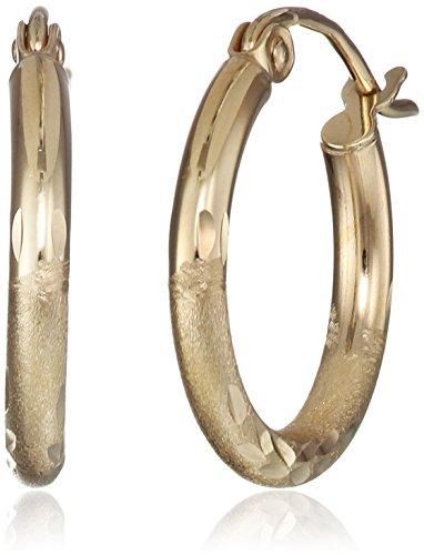 (10k Yellow Gold 2mm Diamond-Cut Hoop Earrings)