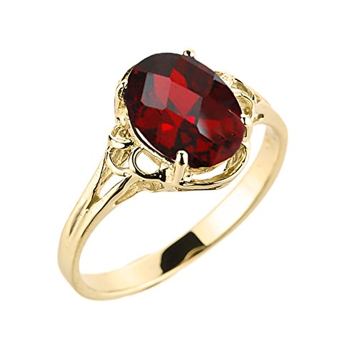Yellow Gold Genuine Garnet Ring - Modern Contemporary Rings Elegant 10k Yellow Gold January Birthstone Genuine Garnet Gemstone Solitaire Ring (Size 6)