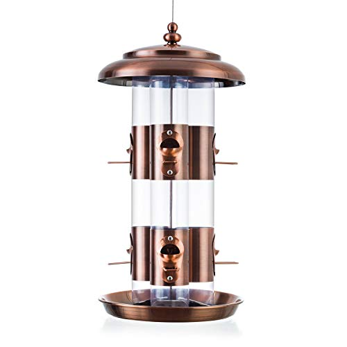(BOLITE 18008 Bird Feeder Triple Tube Wild Bird Feeders, Weather Proof Panorama Bird Feeders for Outside, 4.6 lbs, Copper)