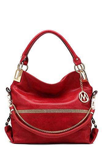 (MKF Hobo Crossbody Bag for Women - Satchel Shoulder Handbag - Vegan Leather Top Handle Purse Removable Strap Red)