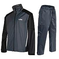 FWG Golf Jacket with Pants Men Women Waterproof Rain Suits Detachable Sleeves Breathable Expandable Packable (Charcoal, Medium)