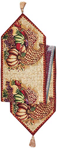 - HomeCrate Fall Harvest Collection, Tapestry Cornucopia with Pumpkins and Fruits Design Table Runner, 13