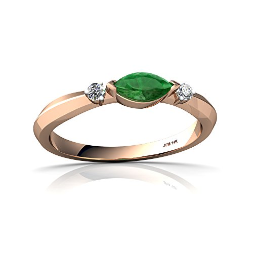 14kt Rose Gold Emerald and Diamond 6x3mm Marquise Art Deco Ring - Size 8 ()