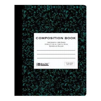 "BAZIC 100 Ct. 5-1"" Quad-Ruled Marble Composition Book"