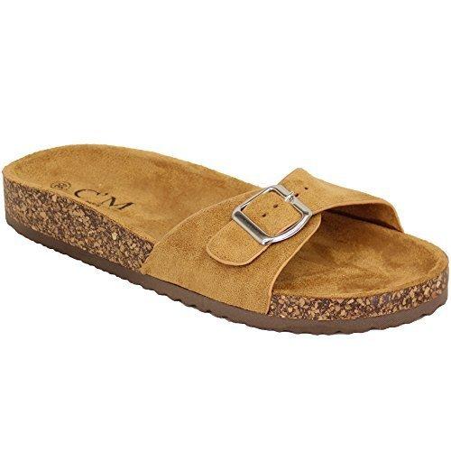 Piatti Infradito Cork Su Slippers Donna Mule Sandali Sliders Camel Camoscio 2015 Slittamento wg0O07