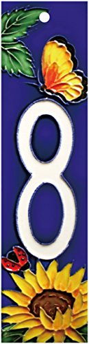 (Sunflower 8 - Decorative Ceramic Art Tile - House Number - 2