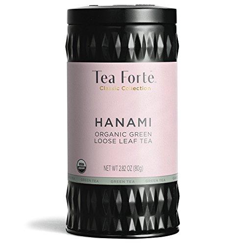 Tea Forte Organic Green Tea, Makes 35-50 Cups, 2.82 Ounce Loose Leaf Tea Canister, Hanami ()