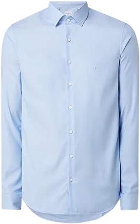 Calvin Klein - Camisa de trabajo de algodón Slim Fit Azul ...