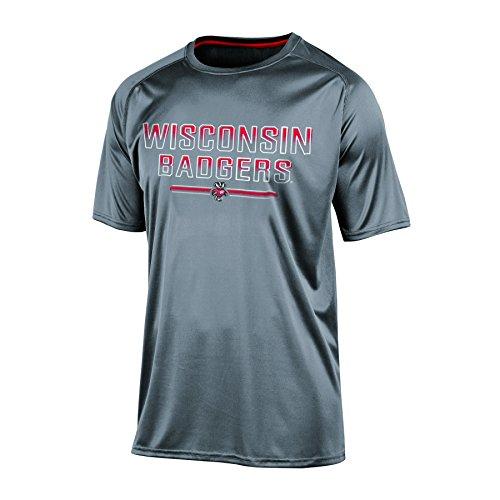 Shirt Gray Wisconsin - Champion NCAA Wisconsin Badgers Men's Short Sleeve Crew Neck RA Tee, Medium, Gray