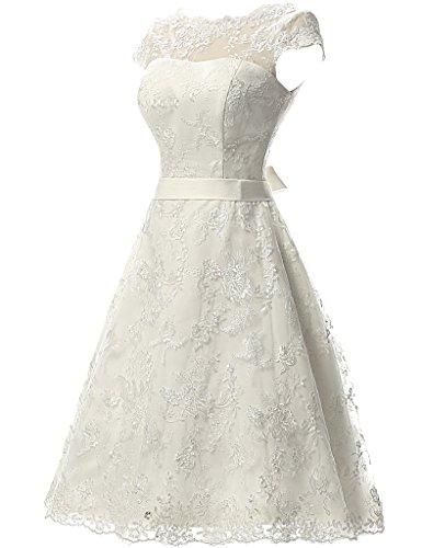 JAEDEN Women\'s Vintage Lace Wedding Dress Short Bridal Gown Dresses ...