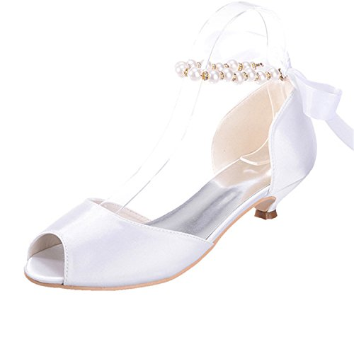 Sarahbridal Women's Low Heels Bridal Sandals Prom Dancing Shoe Peep Toe Satin Wedding Evening Party Court Shoes SZXF0700-11 White b4eoK