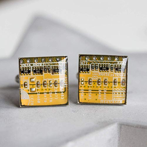 Yellow Circuit Board Cufflinks, recycled gift for computer geek