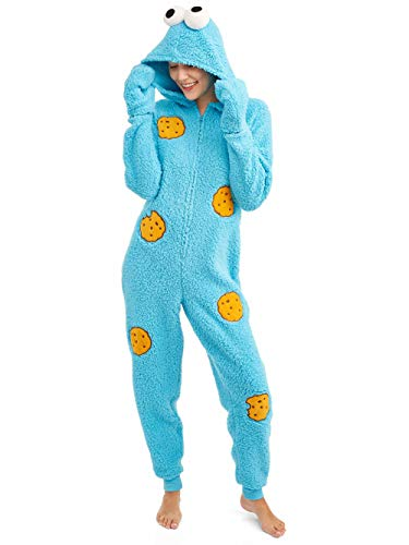 Sesame Street Women's Licensed Sleepwear Adult Costume Union Suit Pajama (XS-3X) Cookie Monster ()